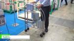 [国際物流総合展 2016] セルフブレーキキャスター付き折り畳み式脚立「MT STEP D」 – 花岡産業株式会社
